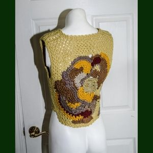 Sweaters - Vintage 1970's Woman's Crochet Sweater Vest XS